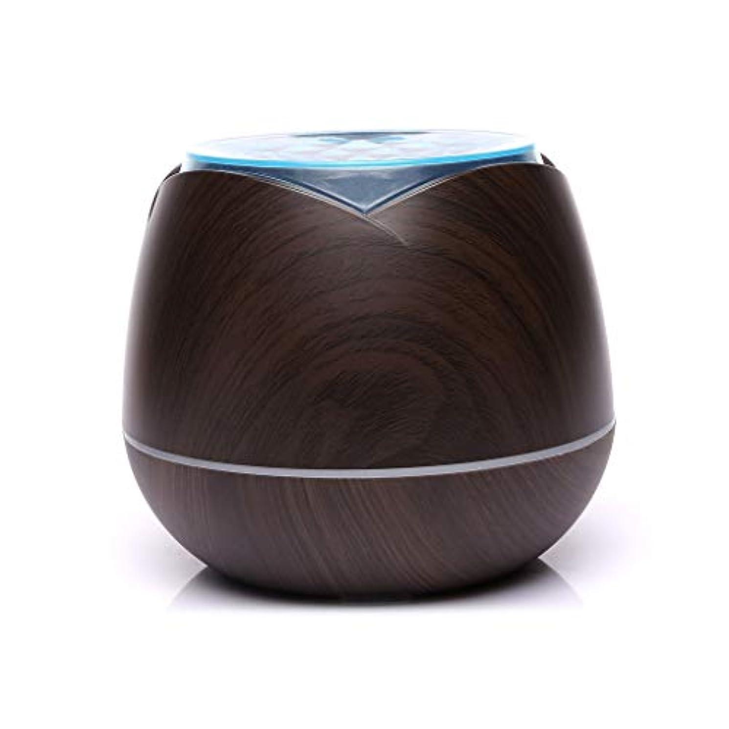 涼しい霧の空気加湿器、家、ヨガ、オフィス、鉱泉、寝室のために変わる色LEDライトと超音波400ml - 木目 - (Color : Dark wood grain)