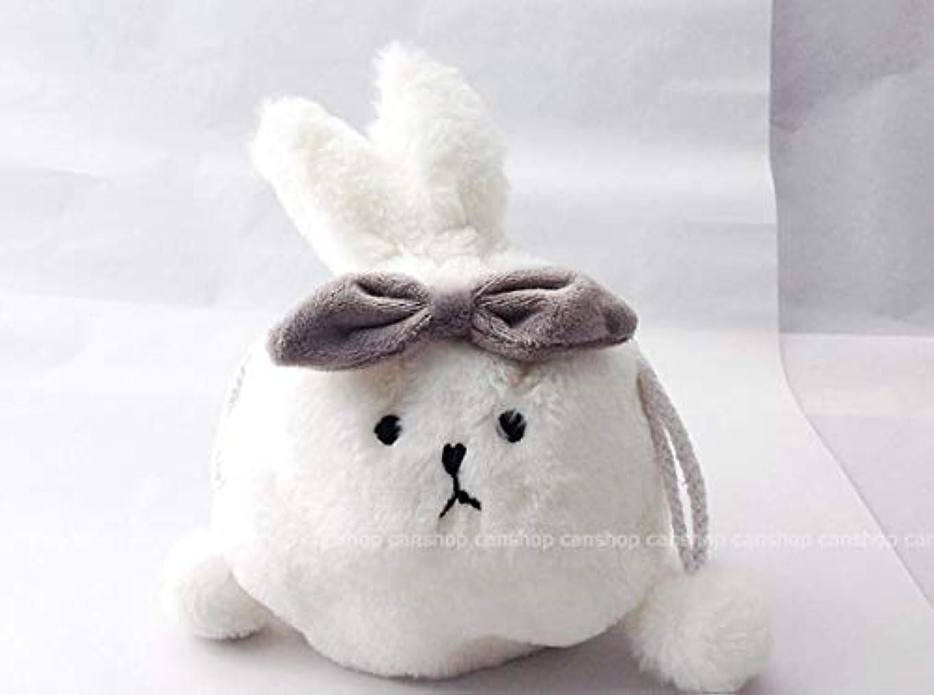 姿勢盗賊最大限うさぎ ポーチ ホワイト ふわふわ ファー 可愛い ウサギ 巾着 おしゃれ