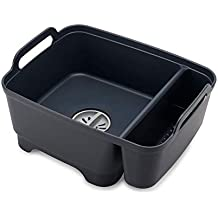Joseph Joseph Wash & Drain Store Wash Basin Dishpan with Storage Caddy Draining Plug Carry Handles 15.5-in x 12.2-in x 8-in Gray