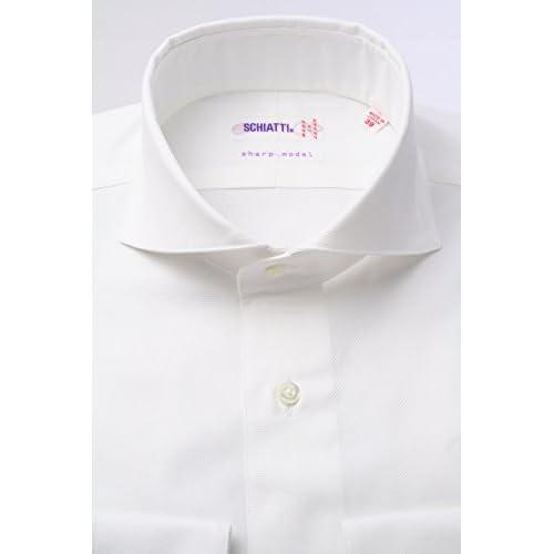 (スキャッティ) SCHIATTI 白の細身ホリゾンタルワイド【特別価格】ドレスシャツwd2531f-S(38-82)