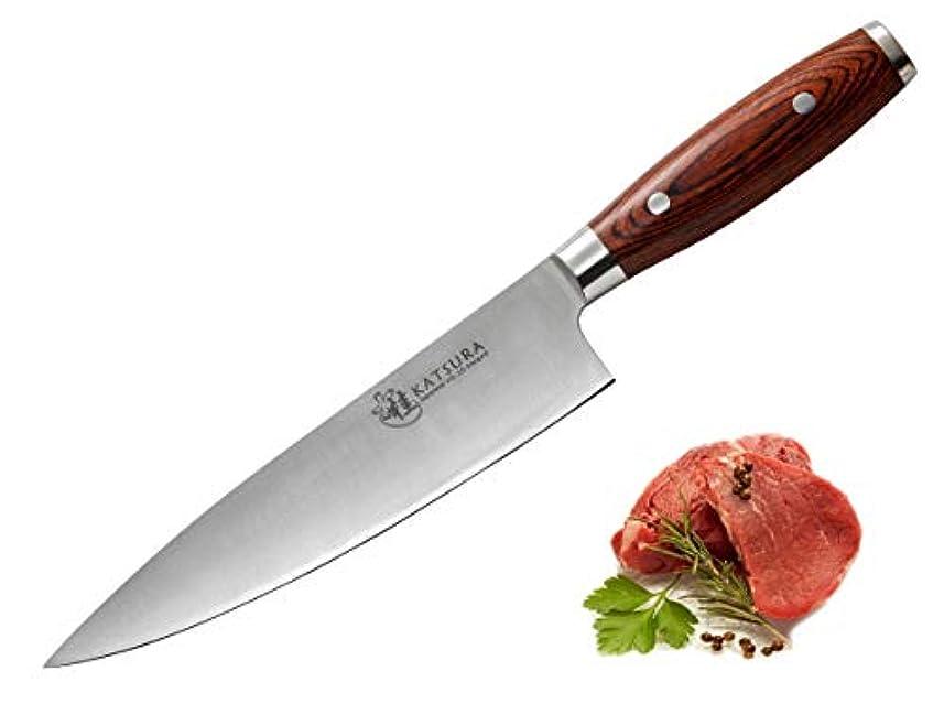 安心させるケーキ硫黄(20cm Chef Knife Pakkawood) - KATSURA Japanese VG-10 3-Layer Forged Steel 20cm Chef Knife