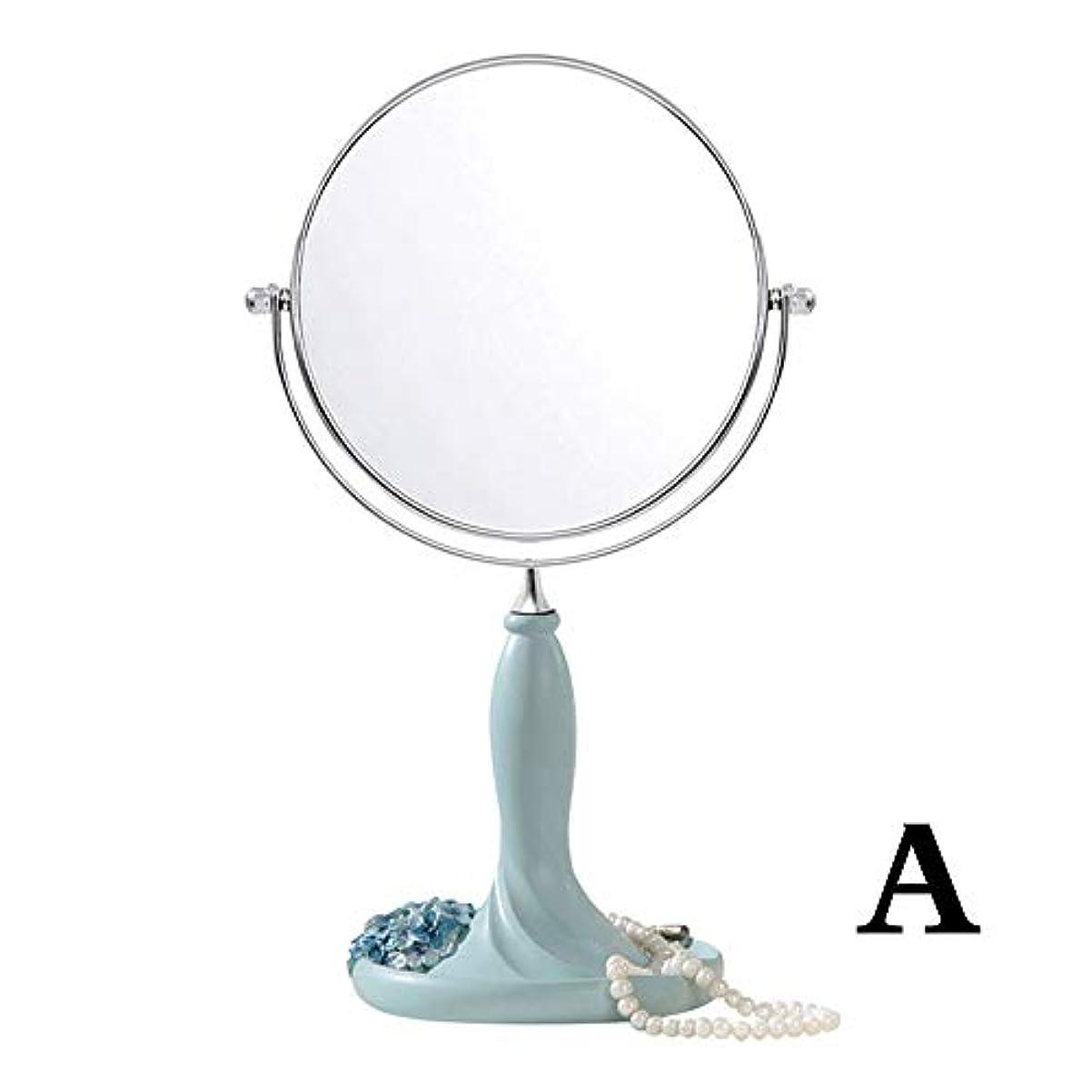 照明付き化粧鏡 6-8インチメイクアップミラー台座テーブルミラー、浴室用寝室、シェービングミラー化粧用化粧台化粧鏡両面クロム自立化粧鏡3倍ズーム 化粧鏡 (Color : Green, Size : 8 Inch)