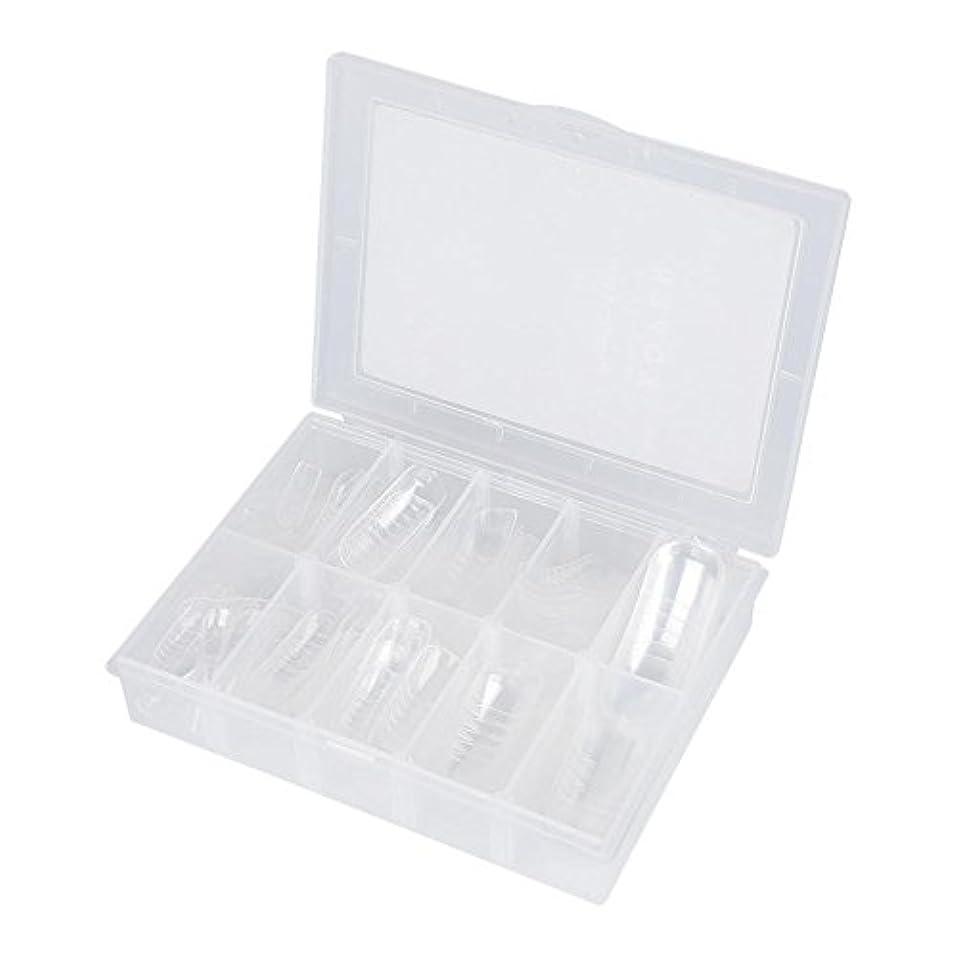 複製バッチフレッシュネイルチップ - Delaman つけ爪、クリア、透明、120枚入れ