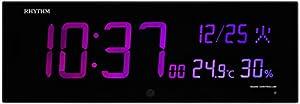 リズム(RHYTHM) 掛け時計 電波 デジタル Iroria G カラー グラデーション LED 365色 表示 黒 RHYTHM 8RZ184SR02