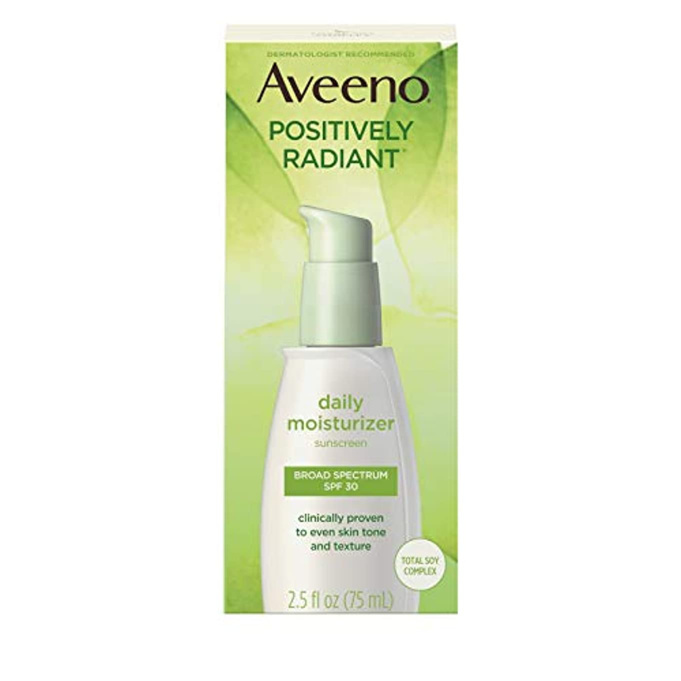 バズ枕魅惑するAveeno Active Naturals Positively Radiant Daily Moisturizer SPF-30 UVA/UVB Sunscreen 73 ml
