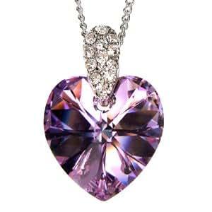 [ネックレス] Necklace スワロフスキー ピンク 紫 ハート クリスタル ペンダント ネックレス