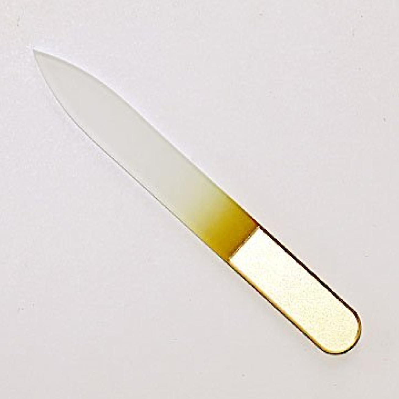 情熱内なる一掃するチェコ製 AXiON(アクシオン)ガラス製爪ヤスリ(ゴールド)両面タイプ #slg009614fba