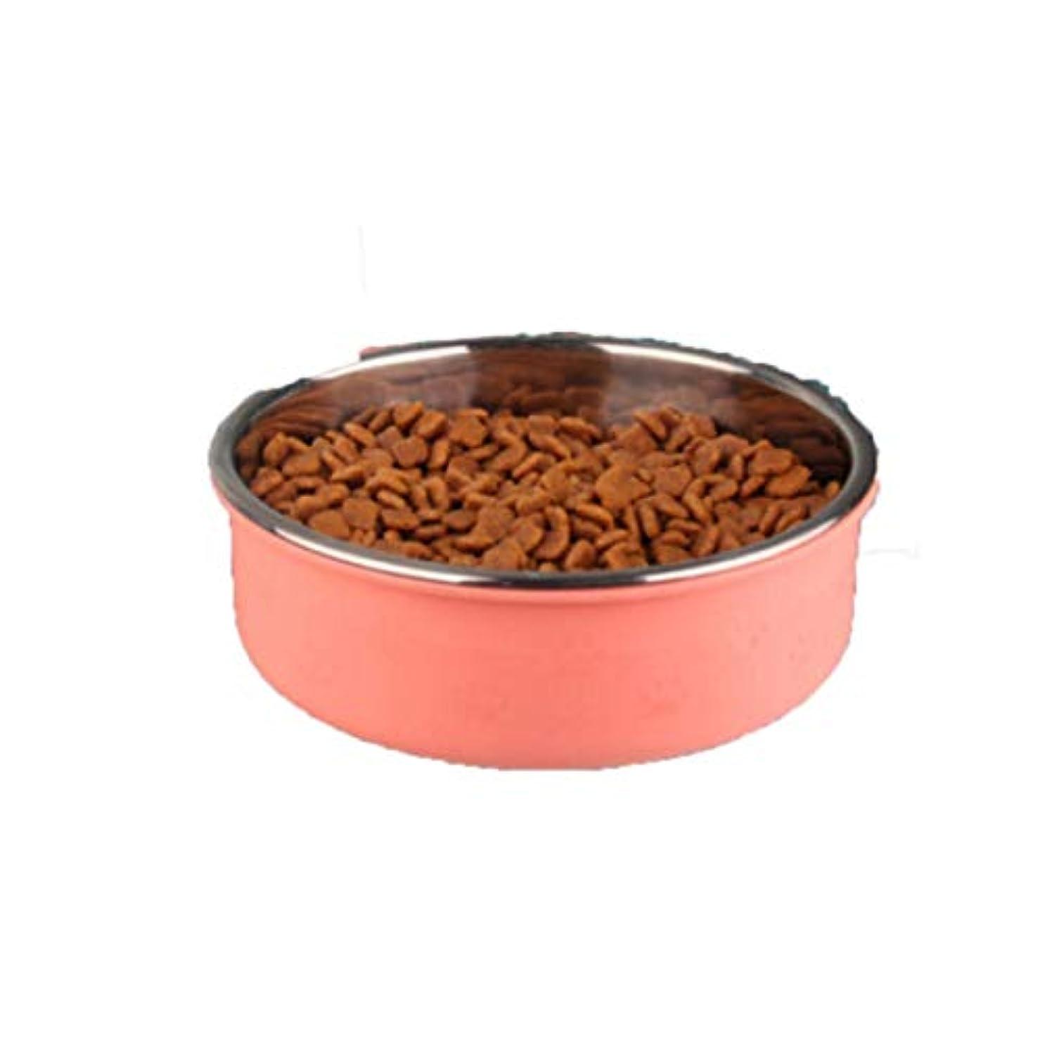 変成器カウンターパート責Xian ペットフードボウル、ハンギングステンレス犬ボウル、犬用品、固定猫用ポット、猫用ボウル、犬用ケージ飲料用鉢、犬用ポット Easy to Clean Non-Skid Bowls for Dogs (Color : Pink, Size : L)