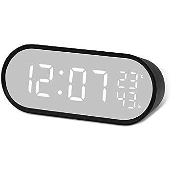置き時計 デジタル時計 目覚まし時計 クロック ミラー機能 LED大画面 温度湿度計 卓上時計 ベッドサイドクロック USB/電池給電 大音量 多機能 (ブラック, 大画面)
