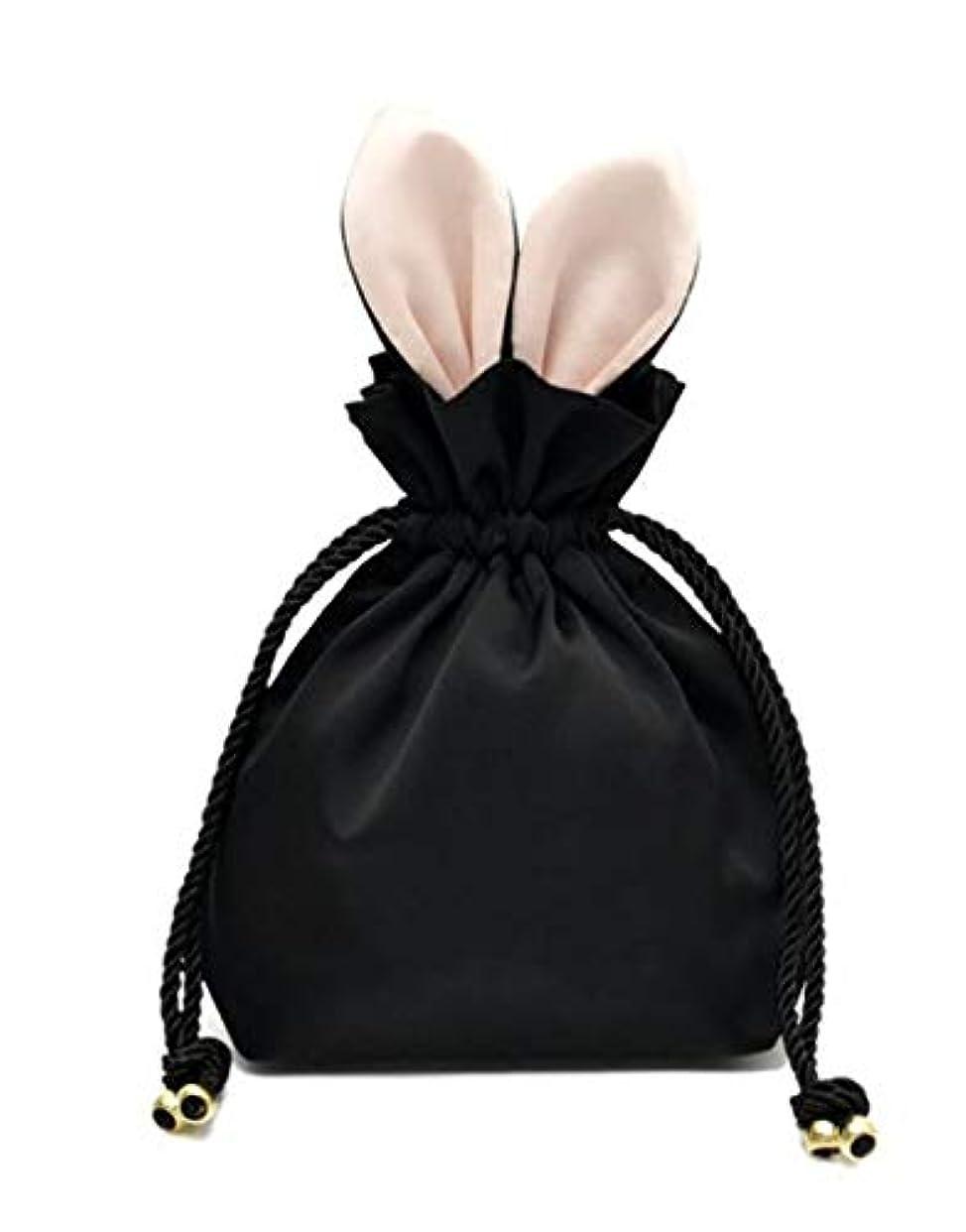 オリエンタル平らな収益ウサギ コスメポーチ 化粧ポーチ 化粧品 たっぷり 収納 ポーチ 化粧バッグ メイクポーチ コスメケース 巾着 旅行 (ブラック)