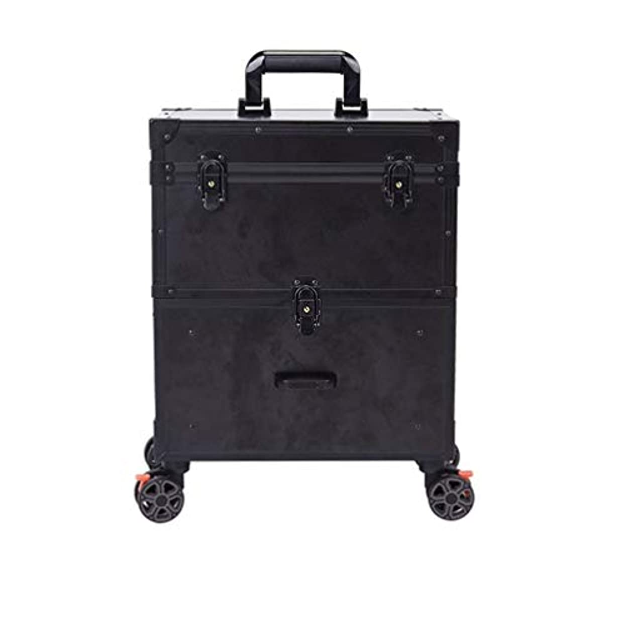 ソートメイン活気づくトロリーケース メイクボックス プロ用 化粧品収納 大容量 キャスター 手提げ付き 持ち運び便利 出張 鍵付き 大容量 美容師用 アウトドア撮影用 ポケット