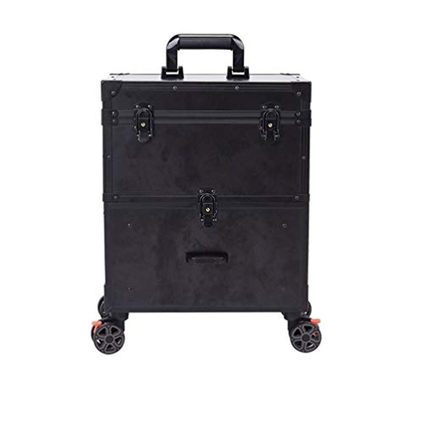 炭素ターミナル珍味トロリーケース メイクボックス プロ用 化粧品収納 大容量 キャスター 手提げ付き 持ち運び便利 出張 鍵付き 大容量 美容師用 アウトドア撮影用 ポケット