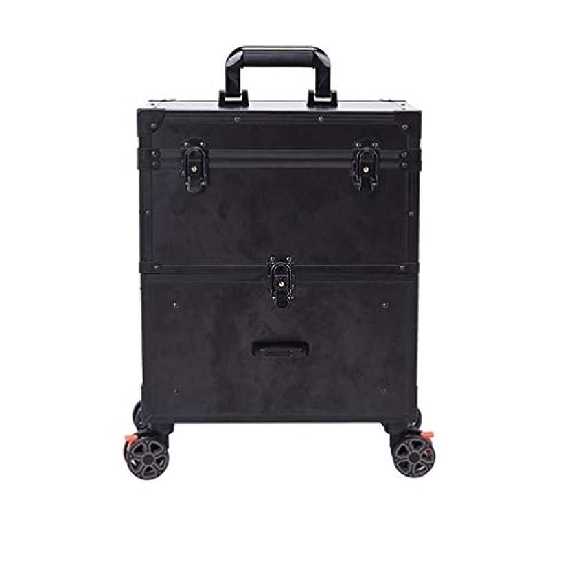 陪審語無効にするトロリーケース メイクボックス プロ用 化粧品収納 大容量 キャスター 手提げ付き 持ち運び便利 出張 鍵付き 大容量 美容師用 アウトドア撮影用 ポケット