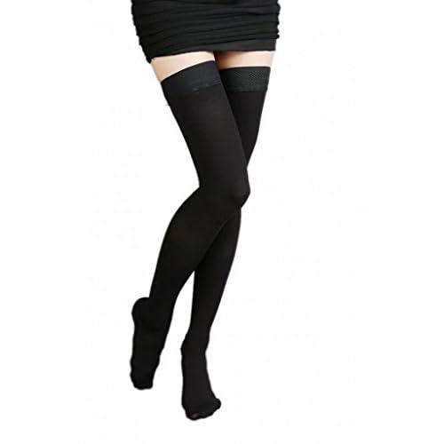 (ラボーグ)La Vogue 美脚 着圧オーバーニーソックス ハイソックス 靴下 医療用弾性ストッキング 静脈瘤 つま先あり着圧ソックス S 2級中圧 黒色