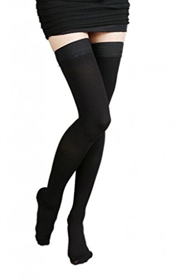 空港区おいしい(ラボーグ)La Vogue 美脚 着圧オーバーニーソックス ハイソックス 靴下 弾性ストッキング つま先あり着圧ソックス L 2級中圧 黒色