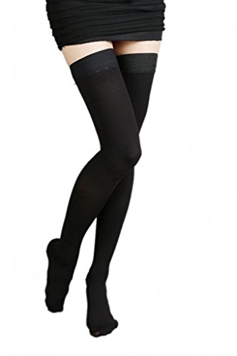 バター花騒(ラボーグ)La Vogue 美脚 着圧オーバーニーソックス ハイソックス 靴下 弾性ストッキング つま先あり着圧ソックス XL 3級強圧 黒色