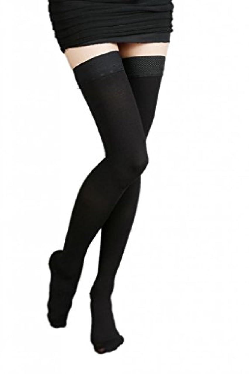 津波十州(ラボーグ)La Vogue 美脚 着圧オーバーニーソックス ハイソックス 靴下 弾性ストッキング つま先あり着圧ソックス S 1級低圧 黒色