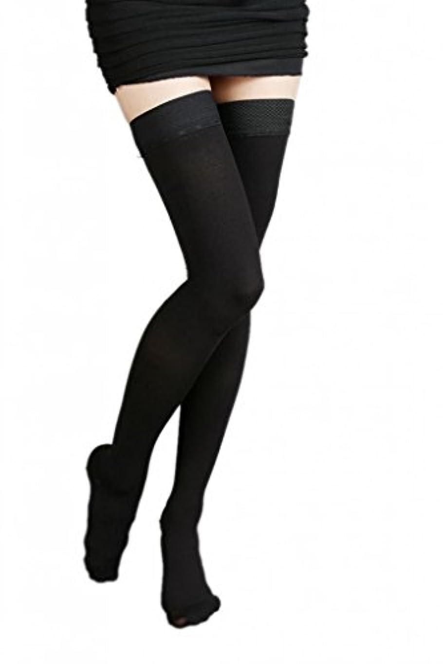 薬無実喉頭(ラボーグ)La Vogue 美脚 着圧オーバーニーソックス ハイソックス 靴下 弾性ストッキング つま先あり着圧ソックス M 1級低圧 黒色