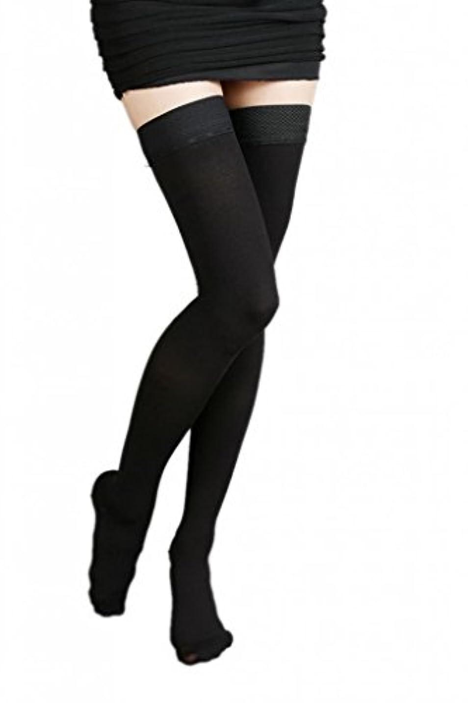 (ラボーグ)La Vogue 美脚 着圧オーバーニーソックス ハイソックス 靴下 弾性ストッキング つま先あり着圧ソックス M 1級低圧 黒色