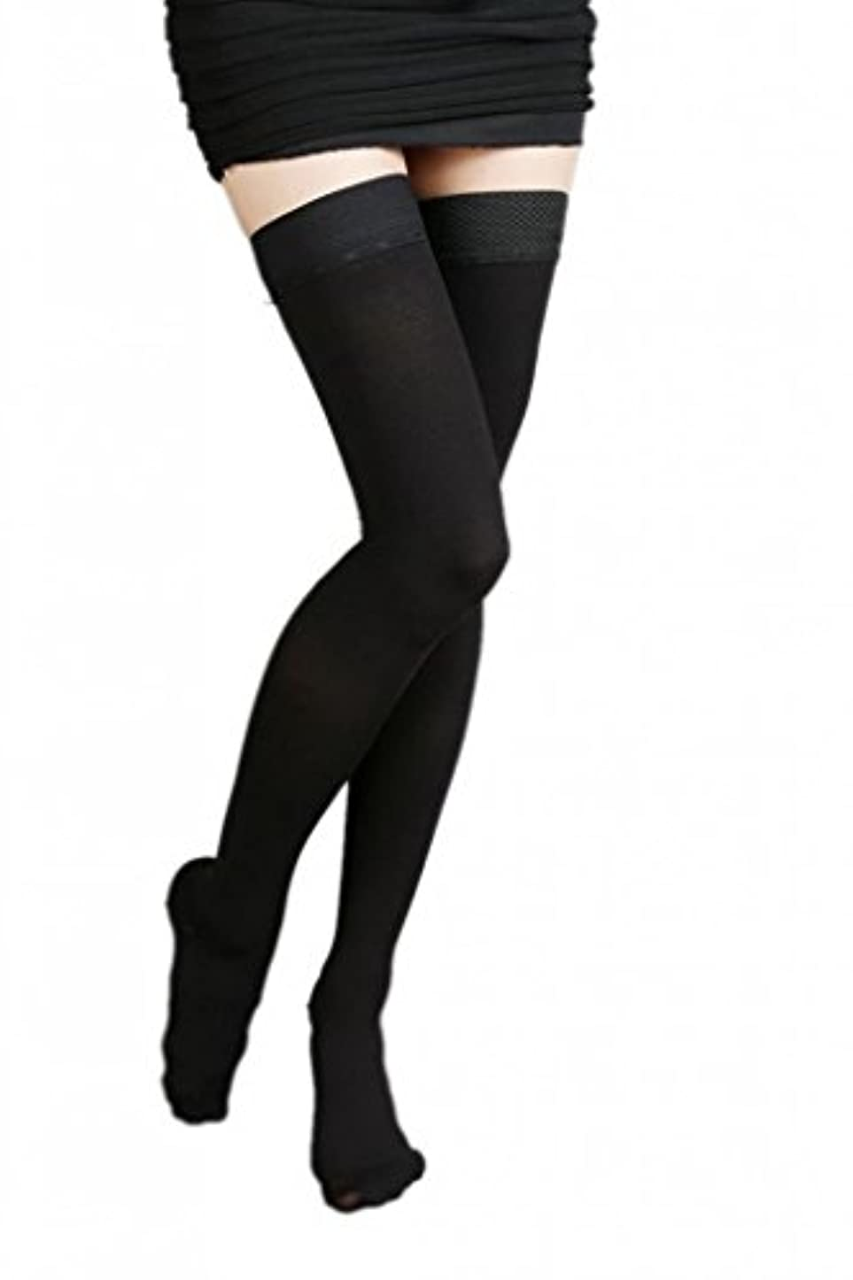 尊敬するところで伝説(ラボーグ)La Vogue 美脚 着圧オーバーニーソックス ハイソックス 靴下 弾性ストッキング つま先あり着圧ソックス M 1級低圧 黒色