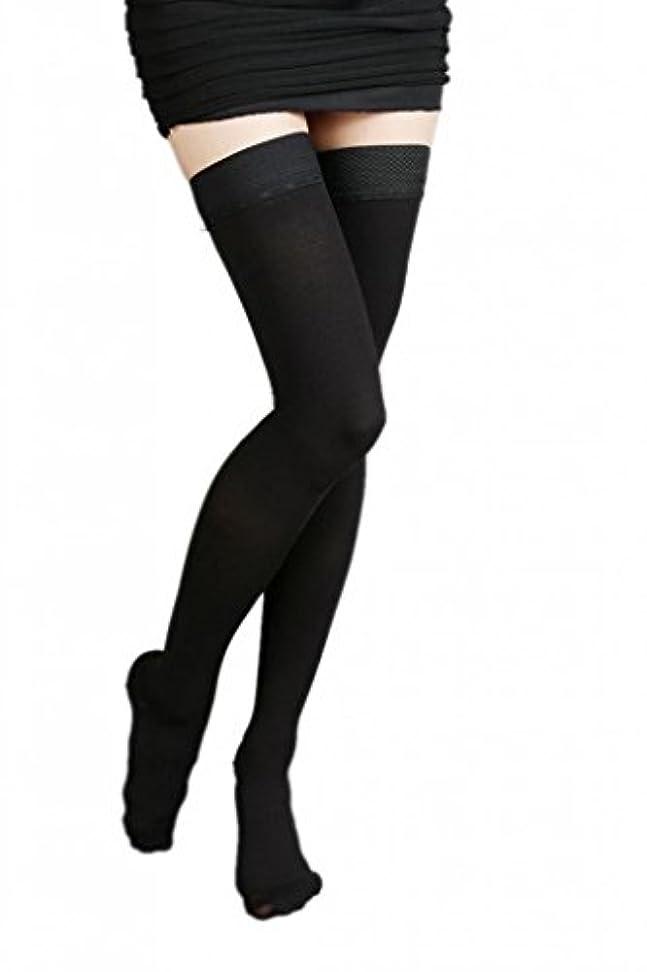 差エロチックリハーサル(ラボーグ)La Vogue 美脚 着圧オーバーニーソックス ハイソックス 靴下 弾性ストッキング つま先あり着圧ソックス S 1級低圧 黒色