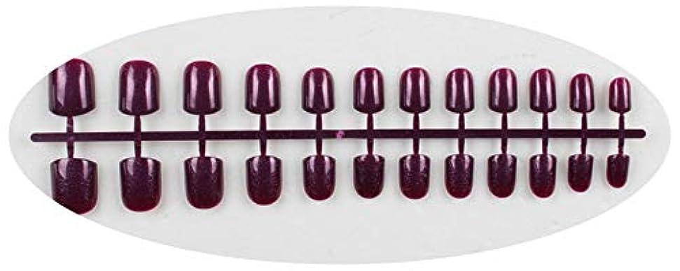追い出すアドバイス胚芽キャンディーカラー24PCS /セット完成した偽爪、短い段落フルネイルチップパッチ、DIYアートツール,GD12