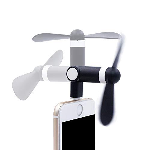 スマホ扇風機 ミニファン 180度回る 角度調整可能 省エネ 手持ち iphone6S PLUS 7PLUS 小さい ファン 静か 携帯便利 TPE 環境保護材料 超小型ポータブル モバイルファン 収納便利 (ブラック)
