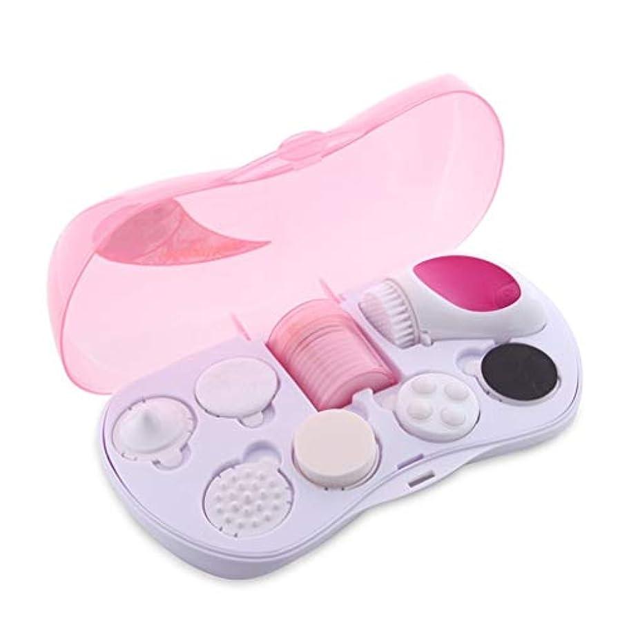 歯主張メロドラマティックディープクレンジングブラシ、スキンフェイシャルマッサージソニックフェイシャルウォッシングブラシポータブルポアクリーナー美容ツールブラックヘッドフェイシャルリフティングおよびホワイトニングしわの除去 (Color : Pink)