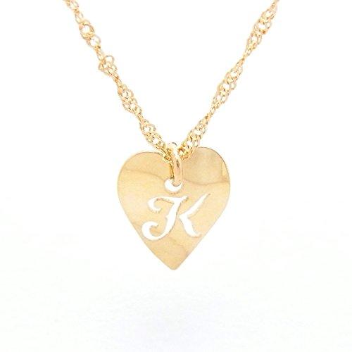 Heart Initial K 18金製 K18 gold ゴールド (日本製 Made in Japan) (金属アレルギー対応) イニシャル 「K」 波型 ハート プレート ペンダント ネックレス スクリュー チェーン ジュエリー (Amazon.co.jp 限定) [HJ] (45 センチメートル)