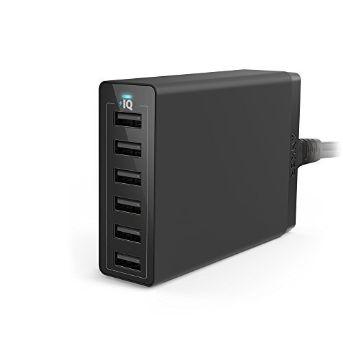 Anker PowerPort 6 (60W 6ポート USB急速充電器) iPhone / iPad / iPod / Xperia / Galaxy / Nexus / 3DS / PS Vita / ウォークマン他対応 【PowerIQ搭載】 (ブラック) A2123513