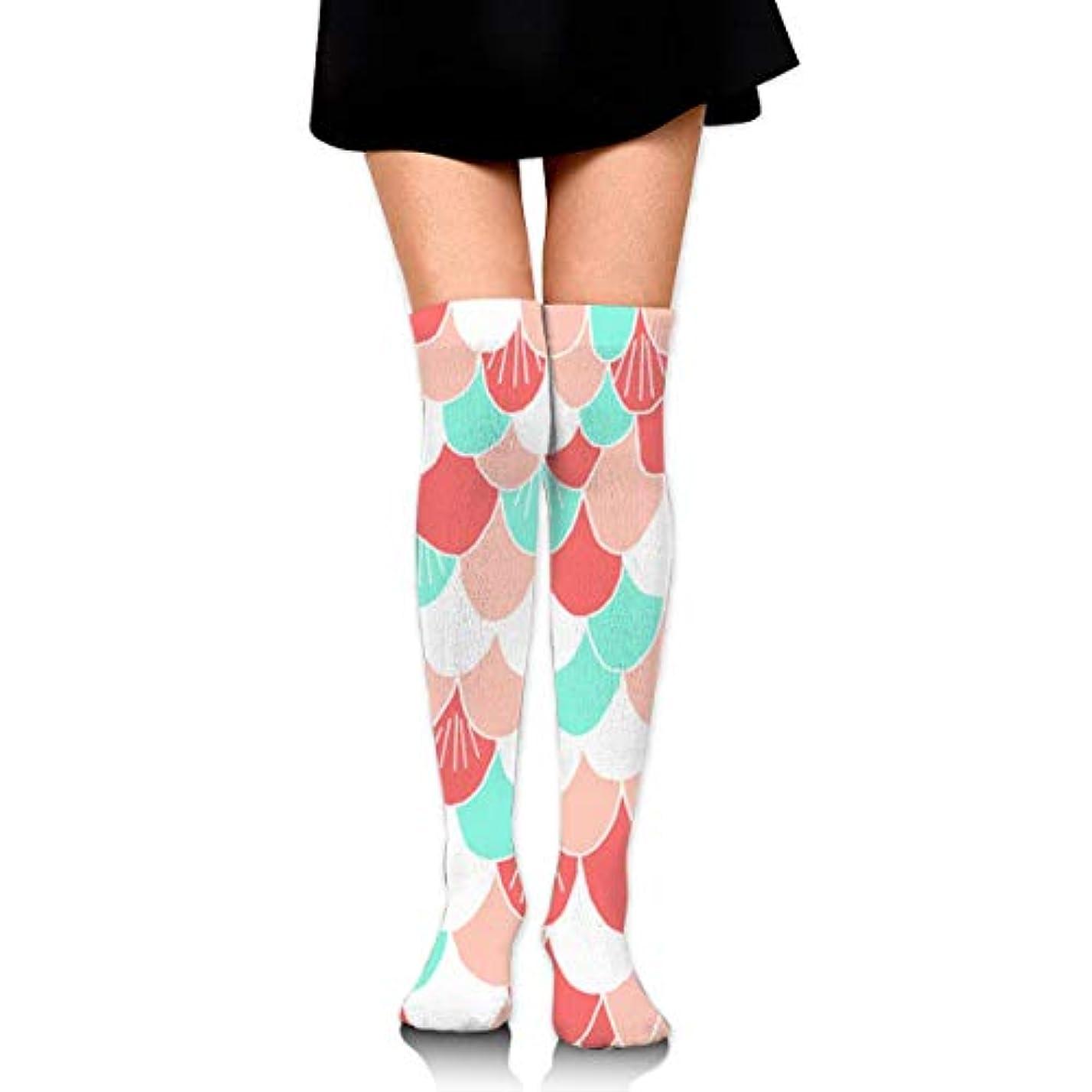 まさにアグネスグレイカナダMKLOS 通気性 圧縮ソックス Breathable Extra Long Cotton Thigh High Beautiful Colorful Mermaid Scales Socks Over Exotic Psychedelic...