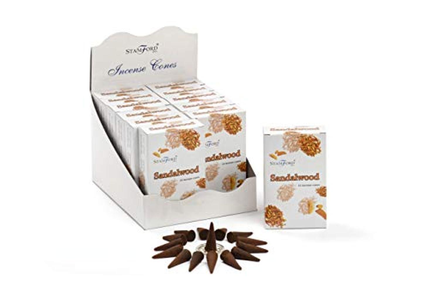 感情ピンポイント習熟度Stamford Sandalwood Incense Cones、15 Cones x 12パック