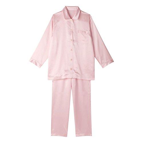 (ワコール)Wacoal 睡眠科学 レディース シルクサテン シャツ パジャマ 長袖 上下セット シルク100% 絹