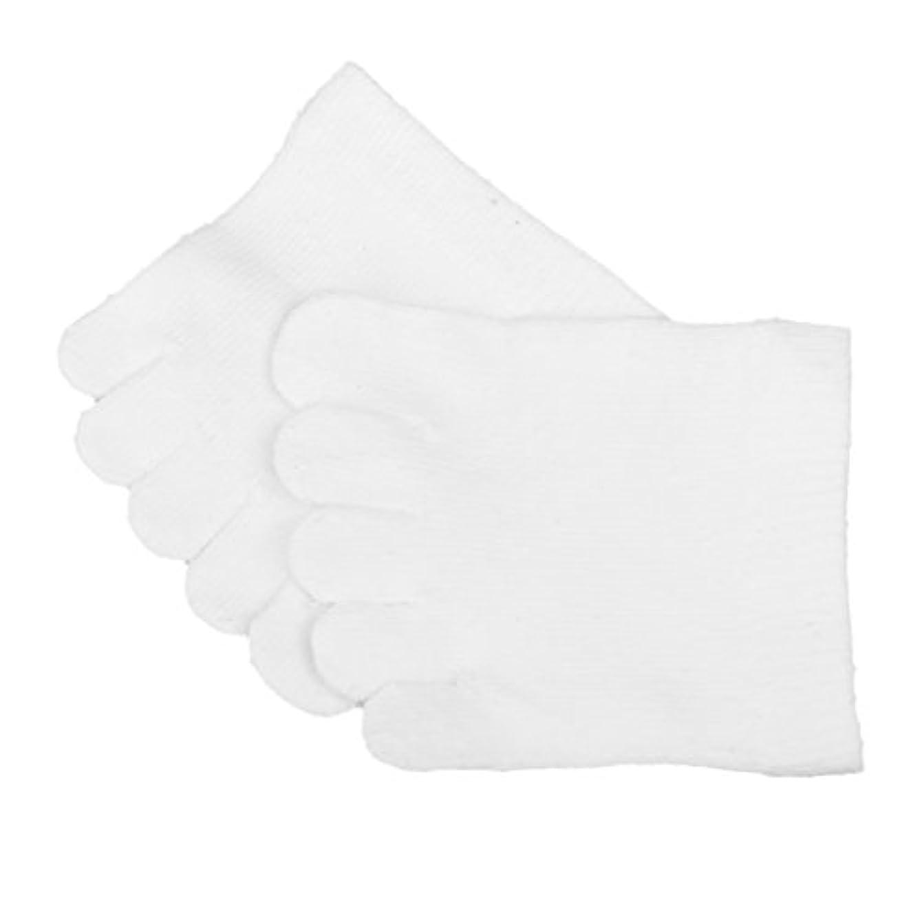 【Footful】ソックス 靴下 5本指つま先ソックス つま先5本指靴下 全2色 (白)