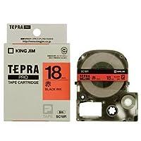(まとめ) キングジム テプラ PRO テープカートリッジ パステル 18mm 赤/黒文字 SC18R 1個 【×4セット】 [簡易パッケージ品]