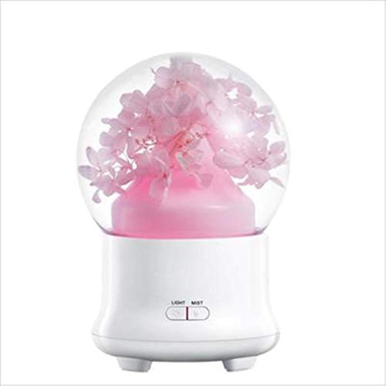 永遠の花加湿器ミュート超音波空気清浄器ホームオフィス保湿カラフルな発光スプレー (Color : Pink)