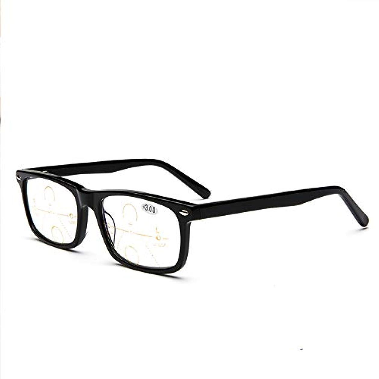 ペチュランス寛解こするプログレッシブマルチフォーカス老眼鏡、アンチブルーライト、変色HD光学アイウェア、メンズ/レディース用