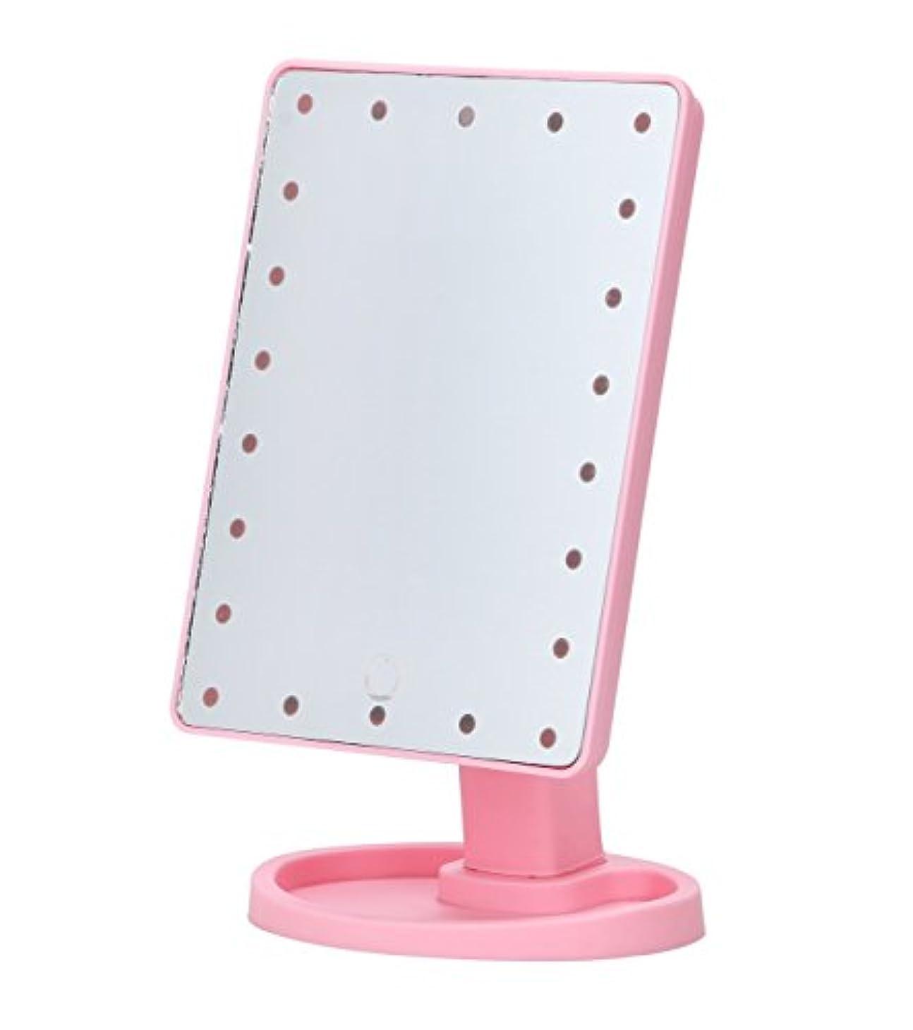 ミリメートル喪いいねほうねん堂 卓上ミラー 22LED 角型 スタンドミラー 化粧鏡 メイクアップ 180度回転 電源 2通り USB電源 単三電池 (ピンク)