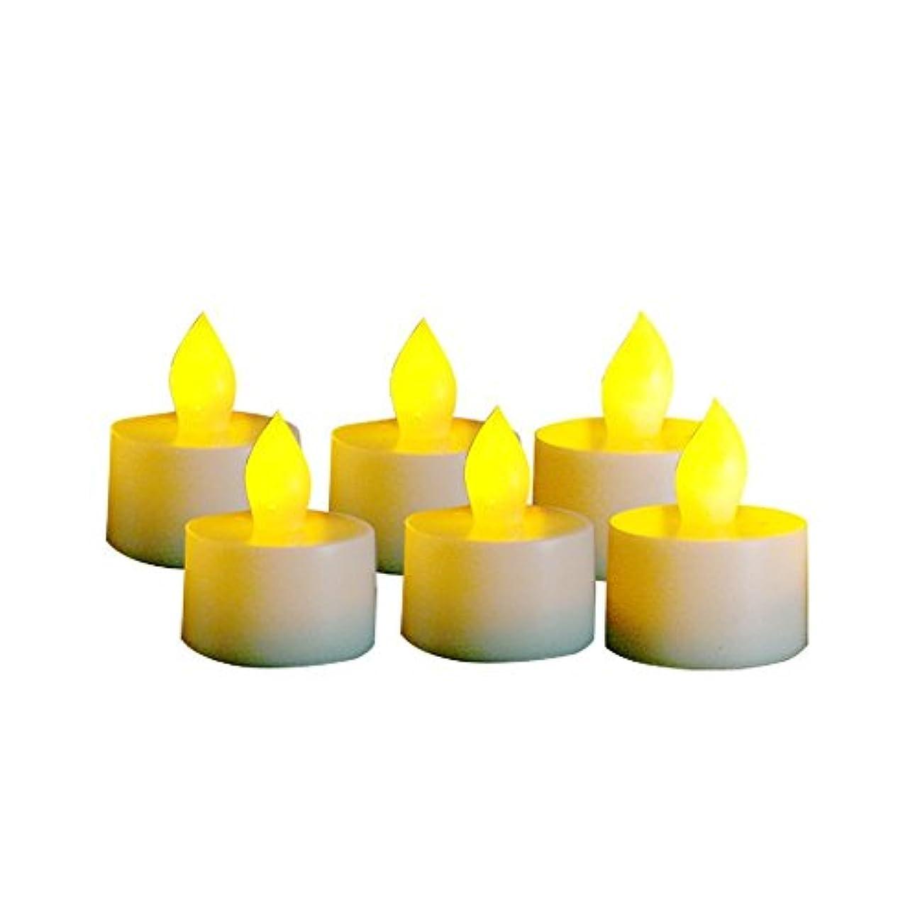 熟読する水分混雑EcoGeckoのセット6インドア/アウトドアTealight Flameless LED Candles withタイマー、400時間バッテリ寿命