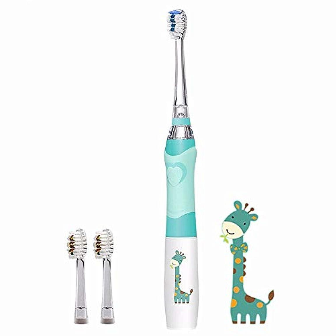 克服する力強いチョップ子供の電動歯ブラシ付きタイマー、防水ソフト口腔衛生マッサージ歯のケア、男の子と女の子,Blue