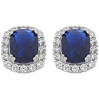 Bevilles Sterling Silver Blue Oval Cubic Zirconia Stud Earrings