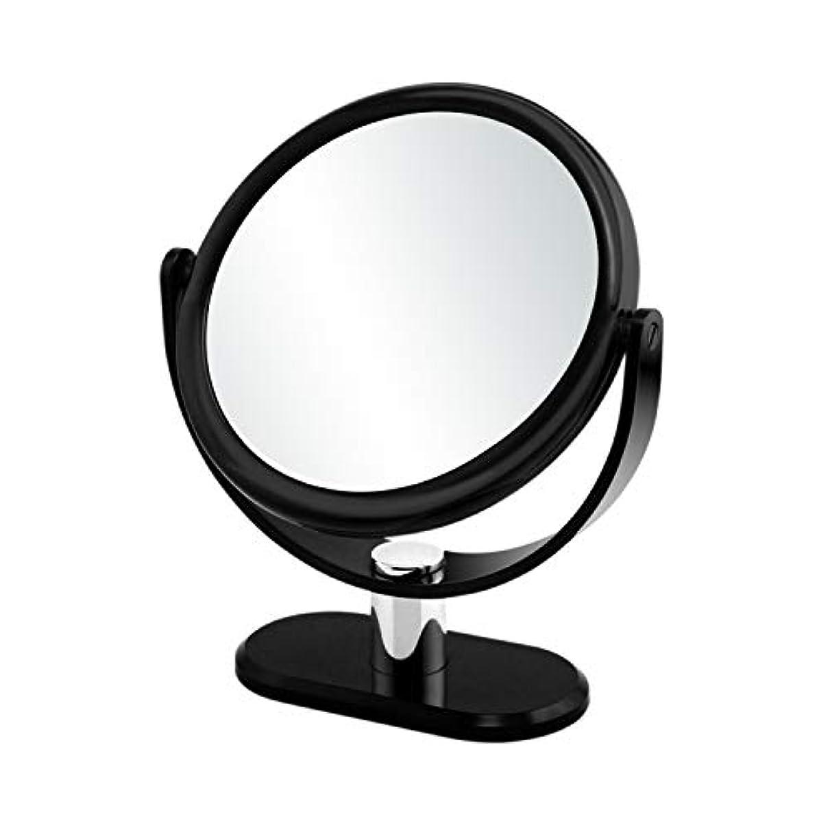 GorwRich ブラック卓上鏡 化粧鏡 スタンドミラー 女優ミラー 卓上ミラー 両面鏡 7倍拡大鏡と等倍鏡