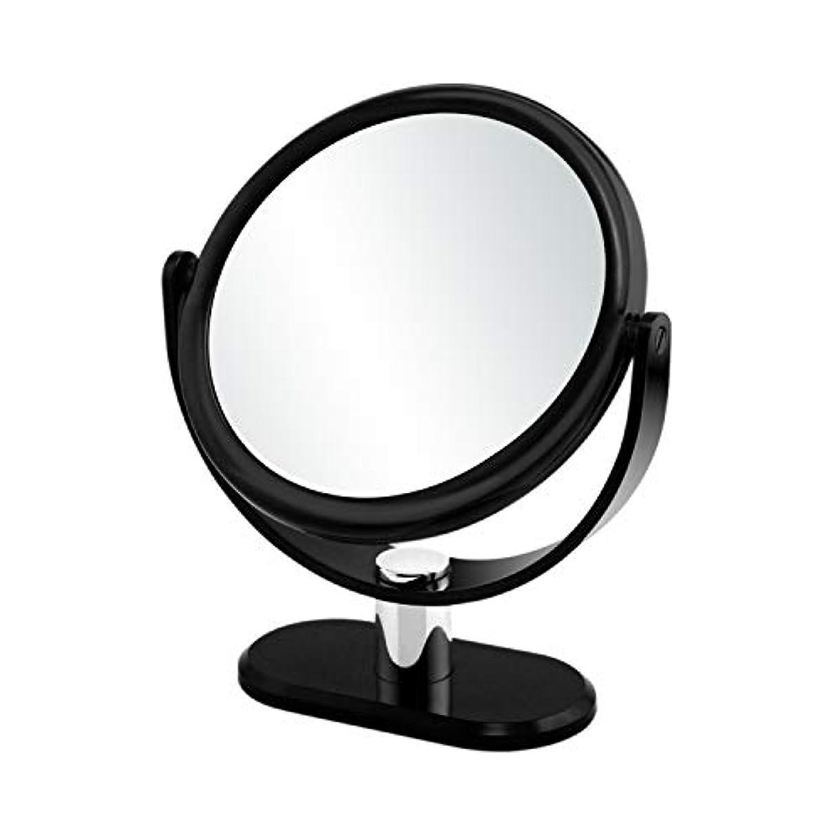 閃光オーバーフローカラスGorwRich ブラック卓上鏡 化粧鏡 スタンドミラー 女優ミラー 卓上ミラー 両面鏡 7倍拡大鏡と等倍鏡