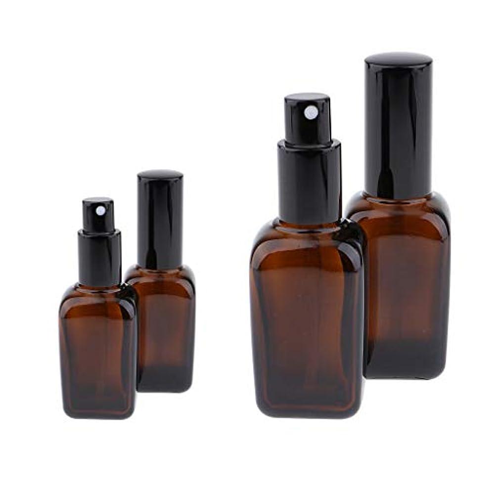 デッキ暗い植物学DYNWAVE 4個セット スプレーボトル スポイト瓶 遮光瓶 ガラス製 精油瓶 詰め替え アロマ保存容器 小分け用