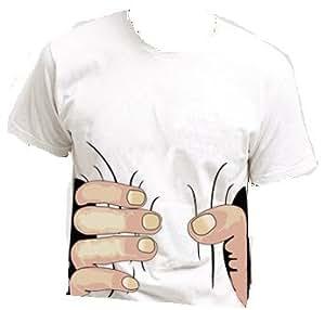 おもしろ3DTシャツ 掴まれた! Mサイズ 半袖 白