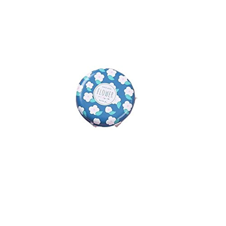HuaQingPiJu-JP ミニラウンドシェイプ小さな花柄のガラスミラーサークルクラフト装飾化粧品アクセサリーインクブルー