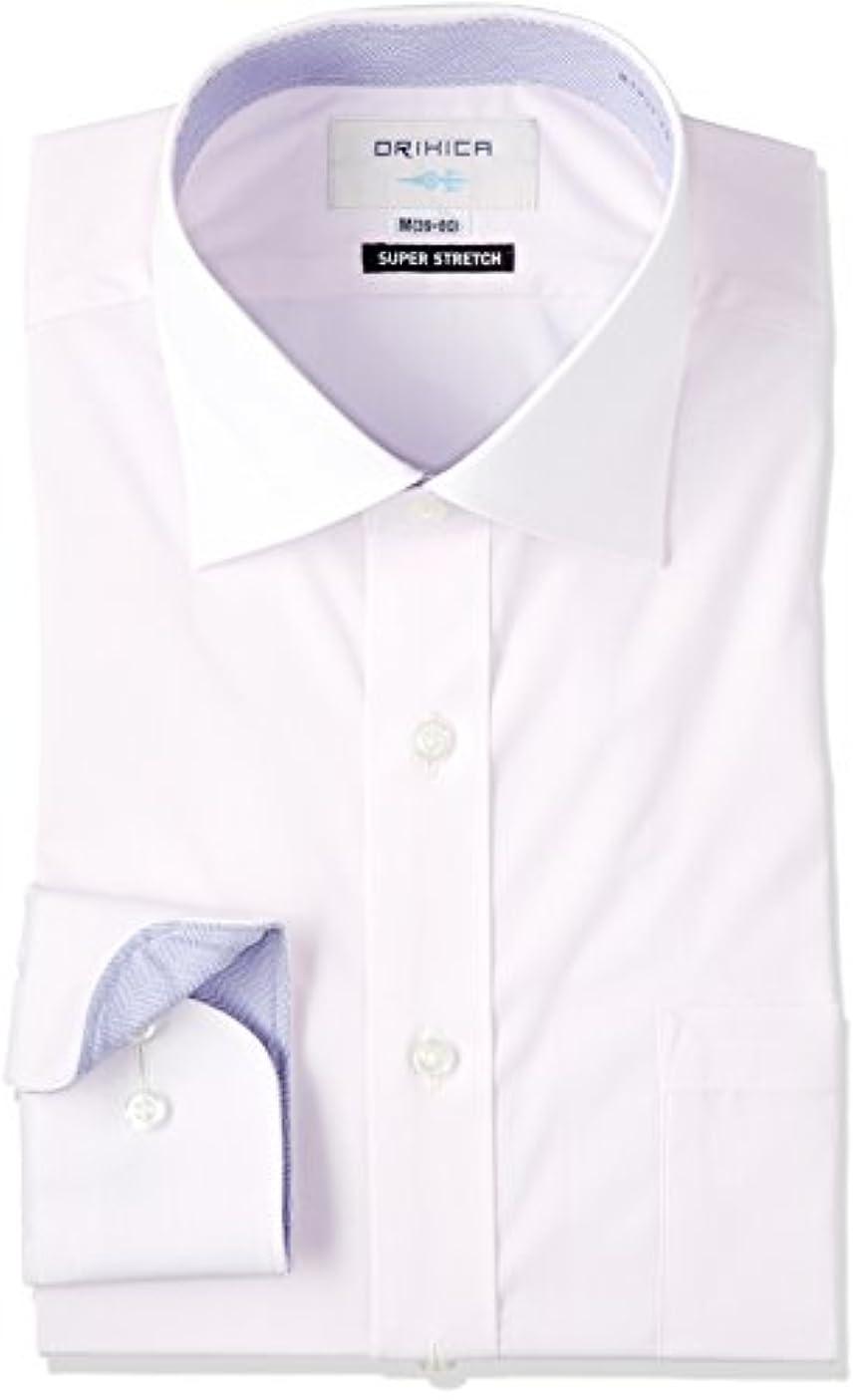 ログ促進するエンドテーブル(オリヒカ)ORIHICA ワイドカラーシャツ ピンク ストレッチ 無地切替ラベンダー織柄 FTLW3719 FTLW3719  ピンク M-Regular