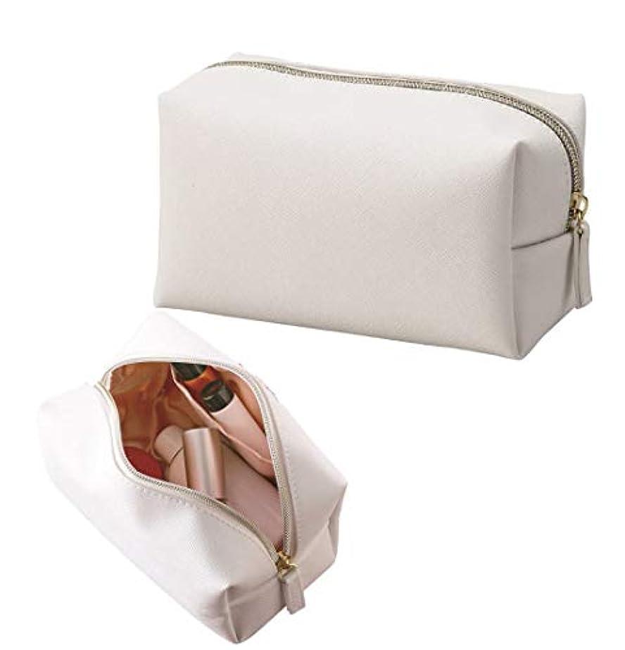 アコー動員する自由ホワイト×ピンクゴールド エレガントな質感 化粧ポーチ コスメポーチ ボックス型