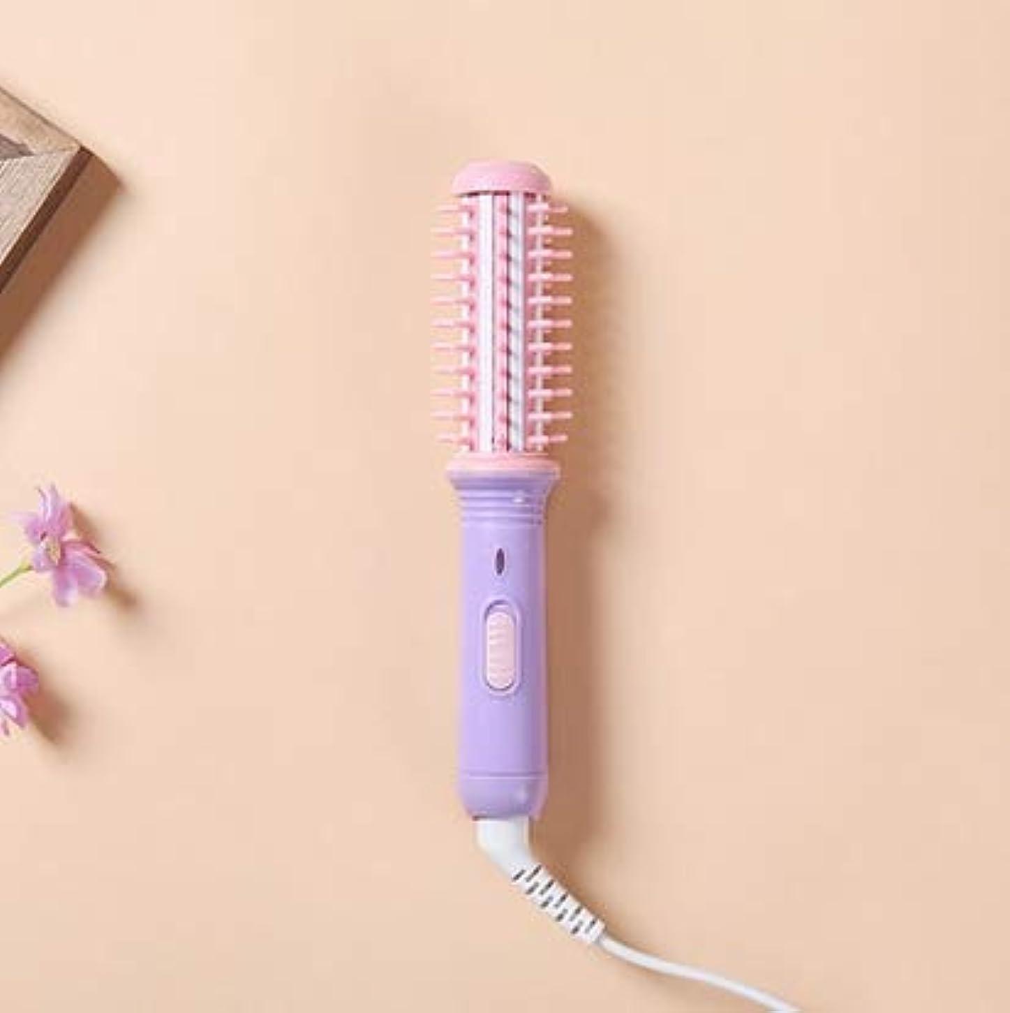 打たれたトラック王族アルプスWTYD 美容ヘアツール 20Wミニ矯正カーリングアイロンセットかわいいフラットアイアントラベルヘアツール(ピンクパープル) (色 : Pink purple)