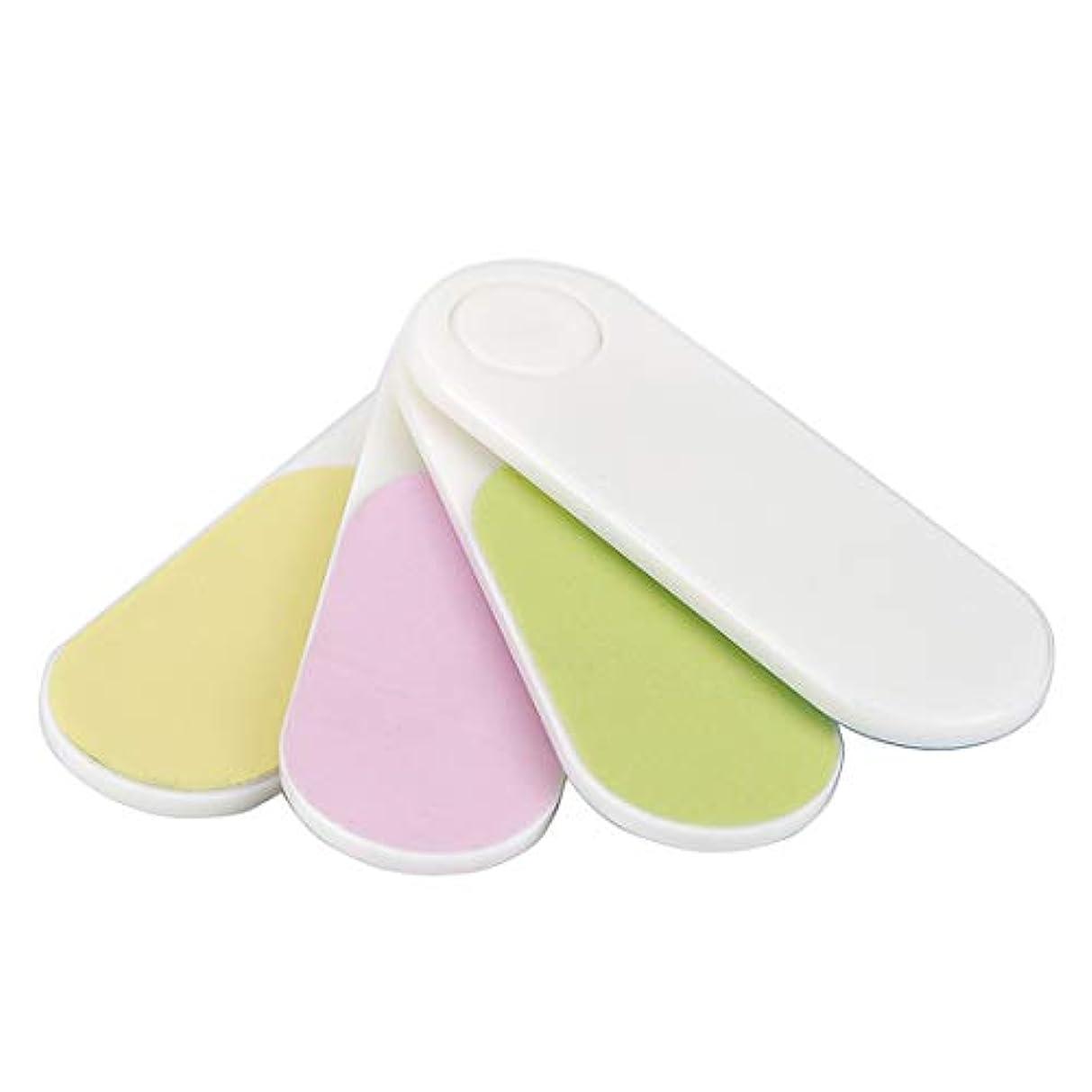 柔らかいを除く意義OU-Kunmlef 便利な携帯用のミニ扇形の爪バッファスムーズな旅行(None Color random)